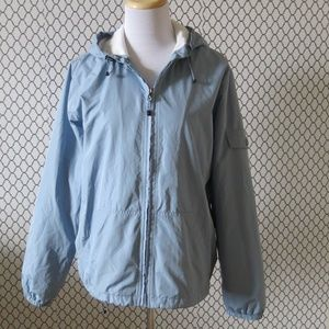 Eddie Bauer Jackets & Coats - EDDIE BAUER Blue Full Zip Hooded Windbreaker Large